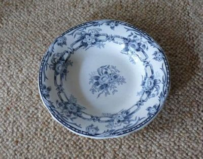 French blue and white plate with