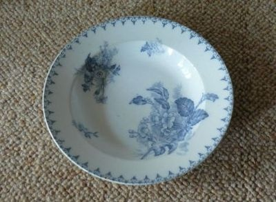 French blue and white plate marked