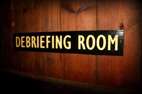 Debreifing Room Door Plaque