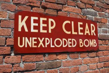 Keep Clear Unexploded Bomb