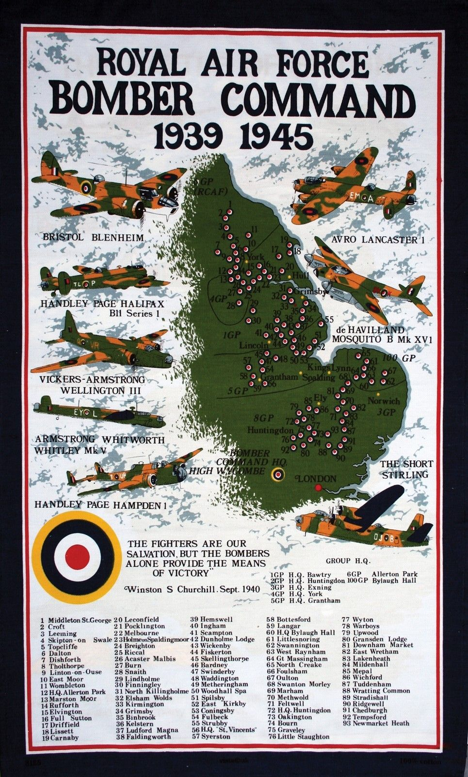 Battle Of Britain Tea Towel Bomber Command Tea Towel Spitfire Tea Towel Hurricane Tea Towel