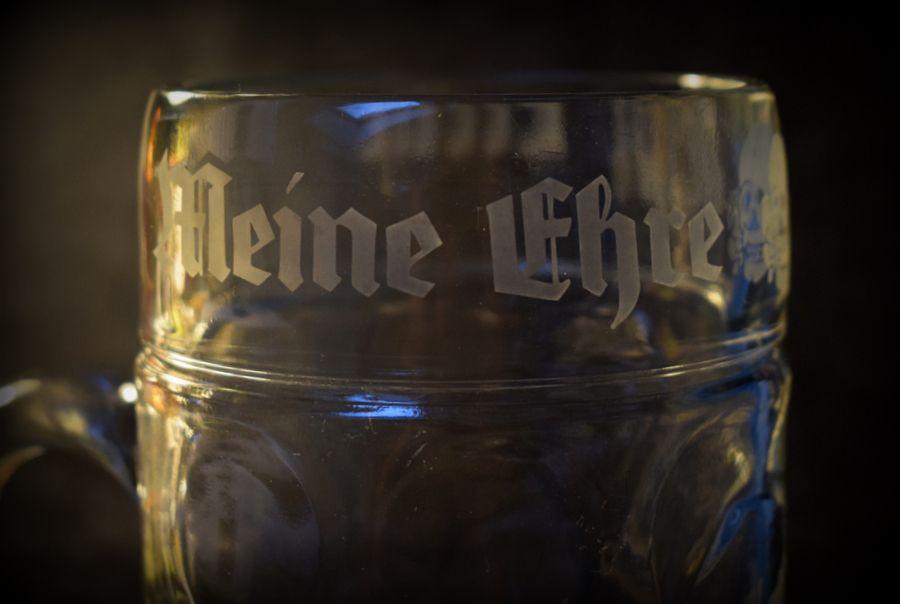 SS 1ltr Glass Beer Stein