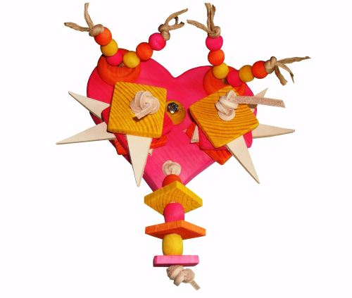 Pink Heart Cage Mounted Pine Parrot Toy for Medium to Large Birds