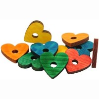 Zoo-Max Colourful Wooden Pine Hearts, 1pk