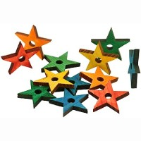 Zoo-Max Colourful Wooden Pine Stars, 1pk Small