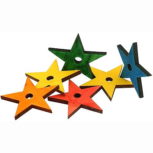 Zoo-Max Colourful Wooden Pine Stars, 1pk Lge
