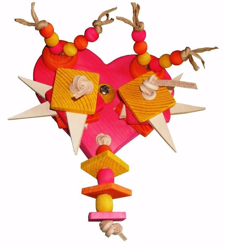 caged mounted wooden parrot toy uk-pink heart