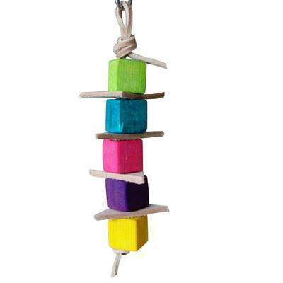 Leather Pine Stacker Parrot Toy for Mini to Medium Birds