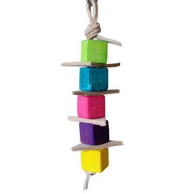 Leather Balsa Stacker Parrot Toy for Mini to Small Birds