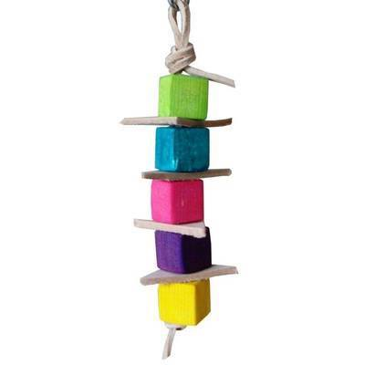 Leather Stacker with Pine & Balsa Parrot Toy for Mini to Small Birds