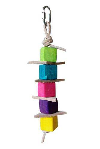 Leather & Balsa Stack Safe Parrot Toy