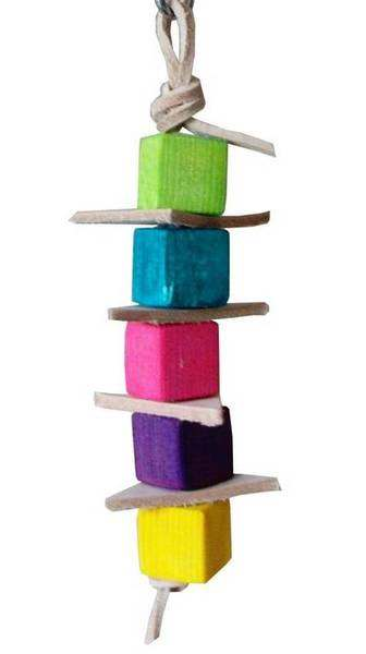 Leather Stack with Pine cubes for a safe cage toy