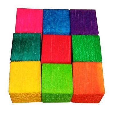 Balsa Cubes 25mm Colourful Soft wood for Small birds, 9pk