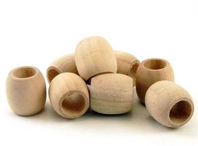 Natural Non Dyed Bird Safe Wooden Barrel Beads Wood For Parrots