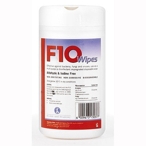 F10 Disposable Disinfectant Wipes - Pack of 100