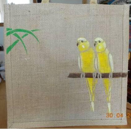 Budgie Jute Bags Yellow, Parrot Shopping Bags