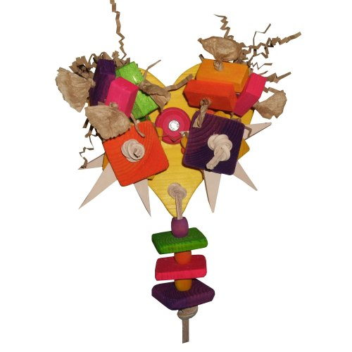 Heart Me Cage Mounted Pine Parrot Toy for Medium to Large Birds