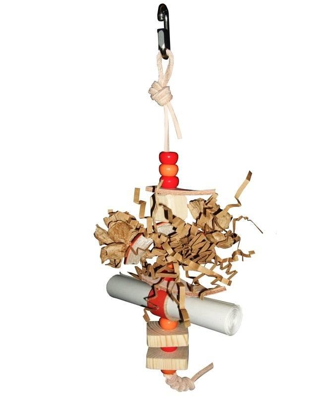 Blaze shredding toy for small parrots