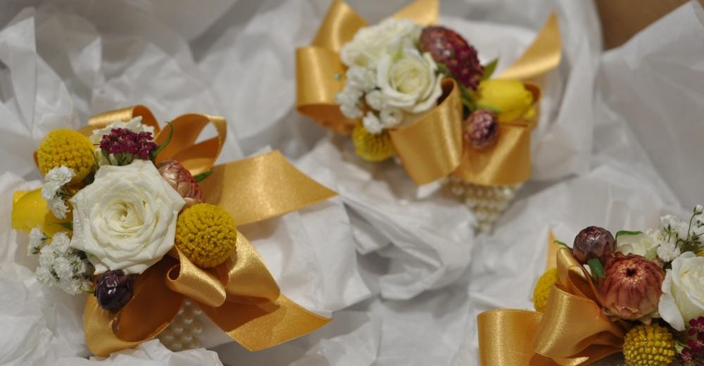 Gold wrist corsage 02