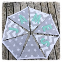 Personalised Grey & Mint Bunting
