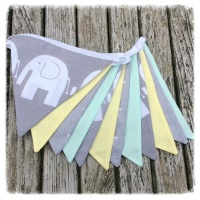 Grey, Lemon & Mint Elephant Bunting