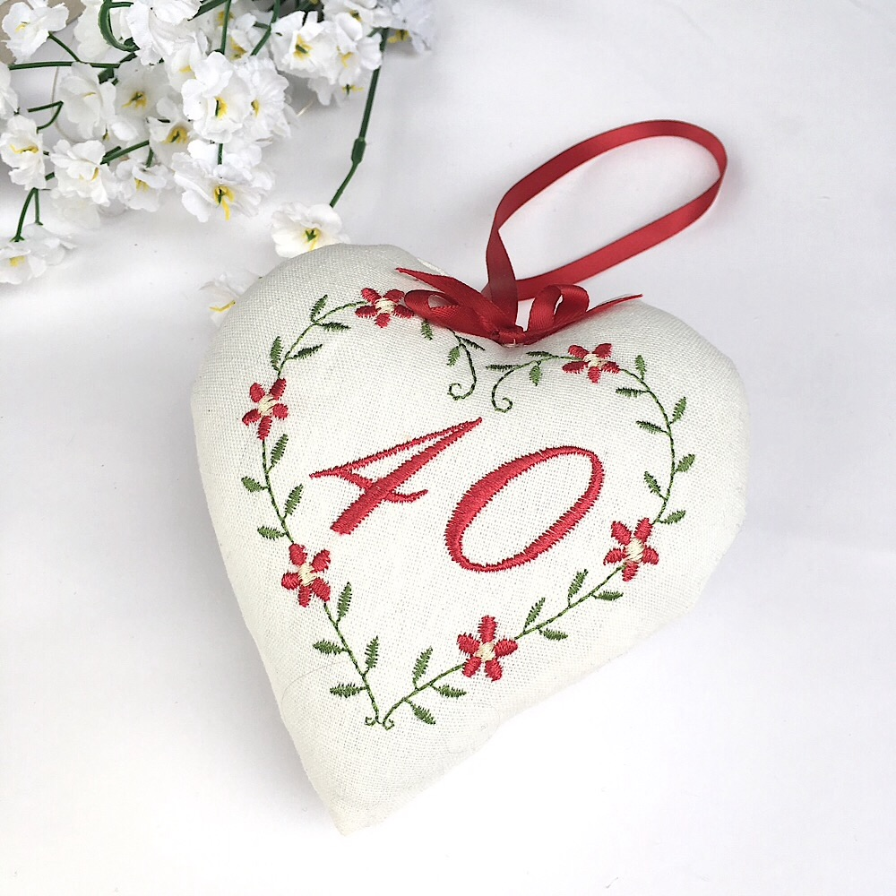 40th Heart, Ruby Wedding gift