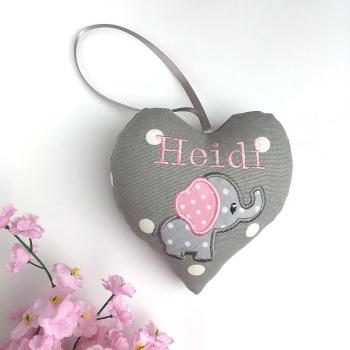 Grey & Pink Elephant Heart