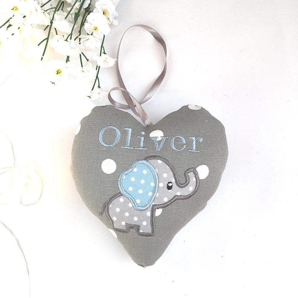 Grey & Blue Elephant Heart