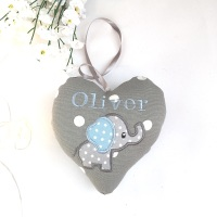 Grey & Blue Elephant Heart