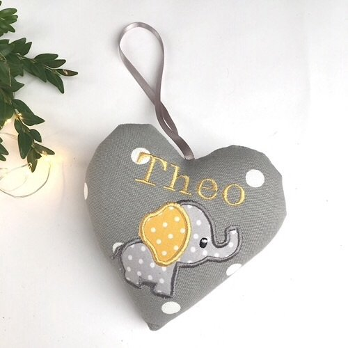 Grey & Yellow Elephant Heart