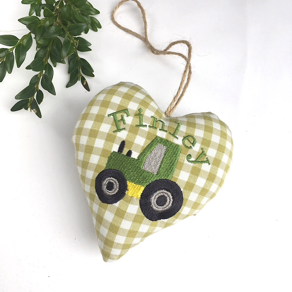 Tractor Gingham Heart - Lime Green