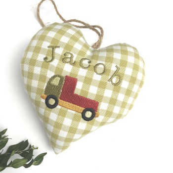 Personalised Green Heart with lorry