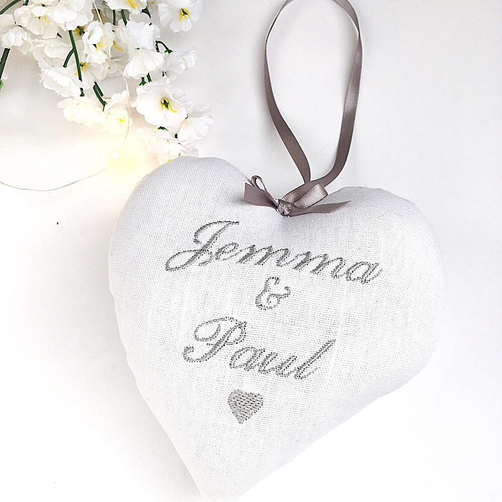 Grey Personalised Wedding Heart