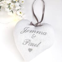 White & Grey Personalised Wedding Heart