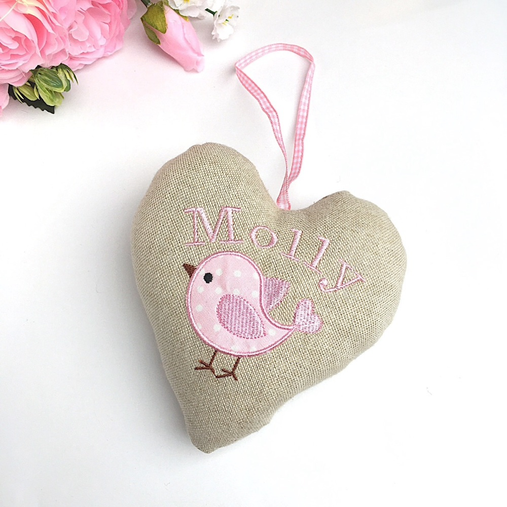 Personalised baby bird heart - pink