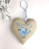 Personalised Embroidered Blue Bird Heart