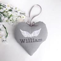Angel Wings Memorial Heart - grey