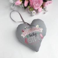 Welcome Baby Girl Heart, new baby gift