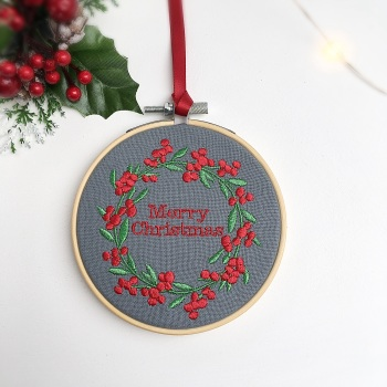 Embroidered Christmas Hoop - red & green