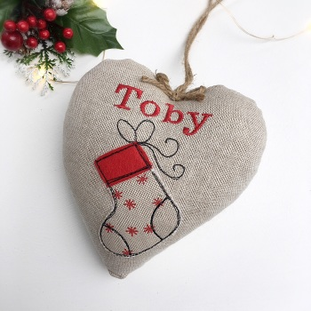 Personalised Heart with Christmas Stocking