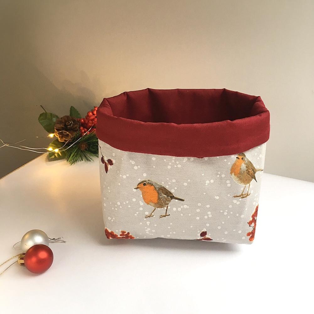 Winter Robin desk caddy, fabric basket