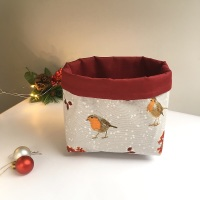 Winter Robin desk caddy, fabric basket