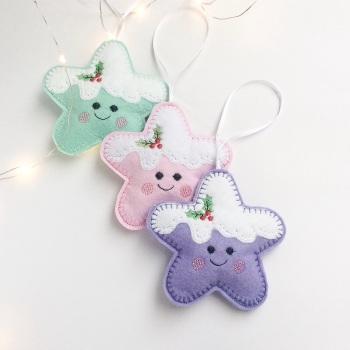 Set of 3 Kawai style Christmas Decorations
