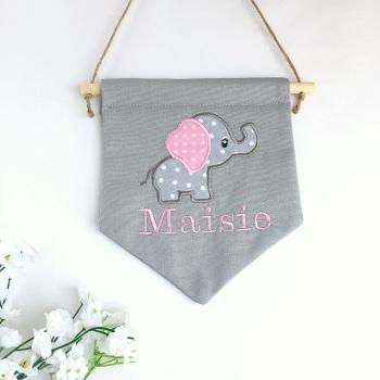 Pink Elephant Pennant Flag