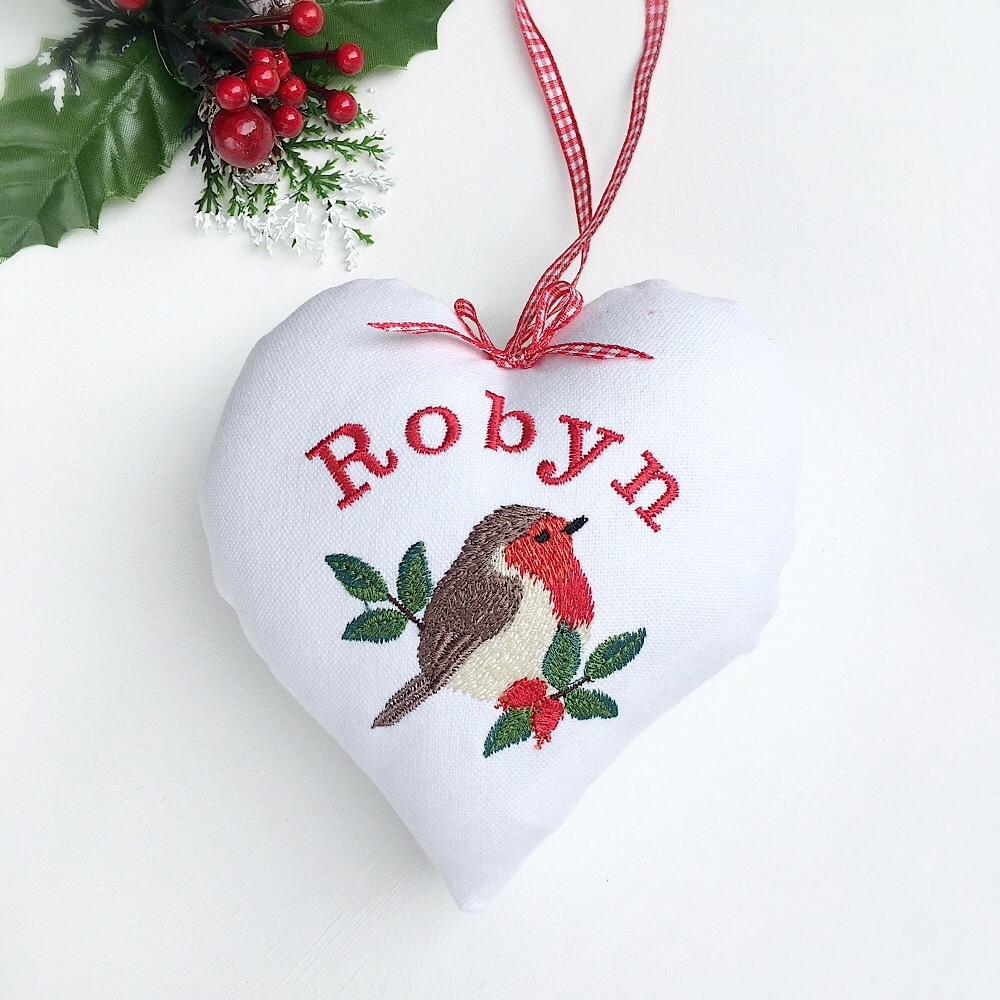 Personalised Christmas Robin Heart