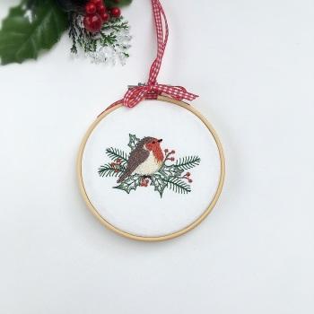 Christmas Robin Embroidered Hoop