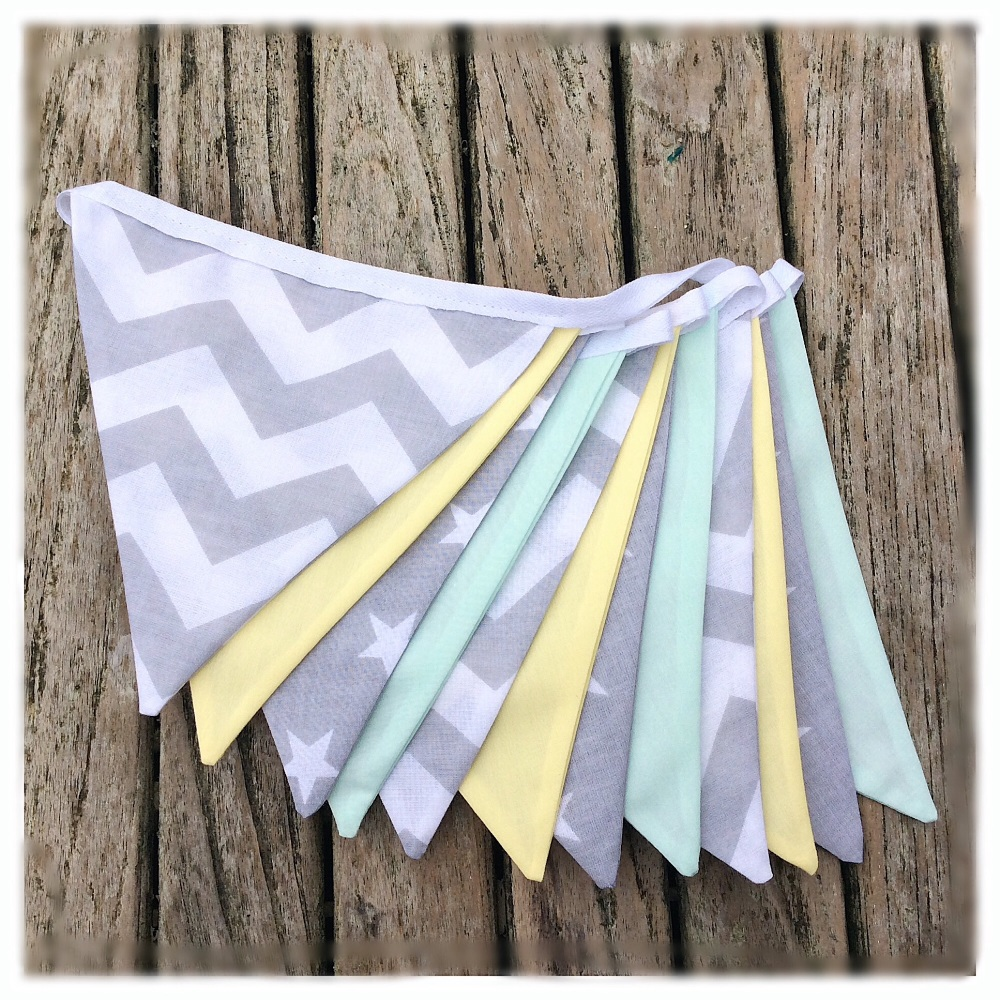 Grey, Lemon & Mint Zig Zag  Bunting