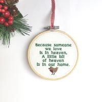 Memorial Christmas  Embroidered Hoop