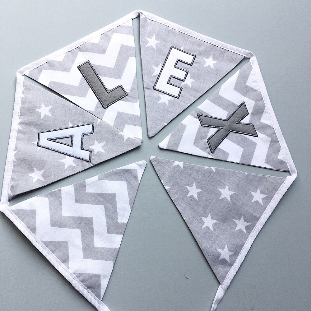 Personalised Grey Bunting
