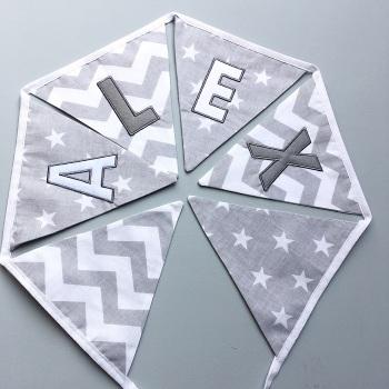 Personalised Grey Stars & Zig zag Bunting